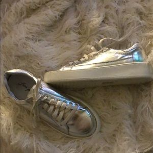 Silver free people letterman sneakers